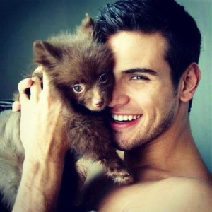 cute guy with pup