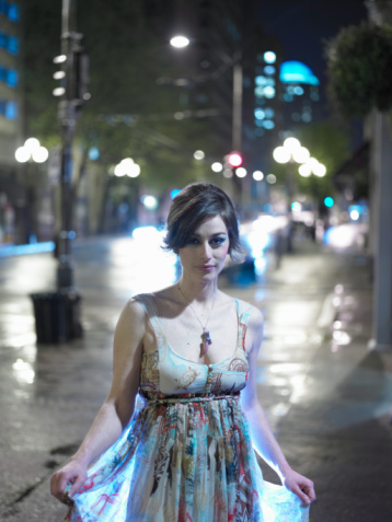 Or you can go shopping and look great like this Vampire. She is rocking that dress and she won't be creeping out anyone!