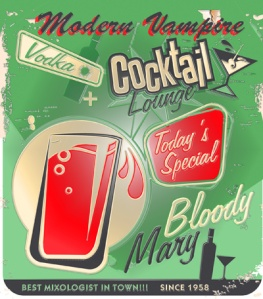 Vampire Cocktails - two parts mixer, one part blood. Cheers. And never drink and drive.