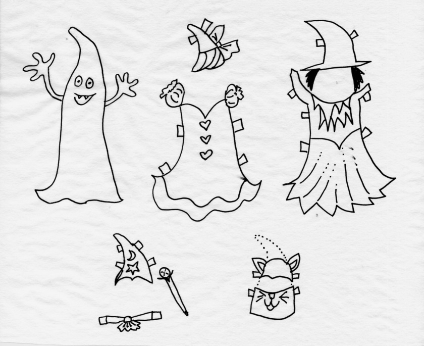 Ghostie Fashion Paper Doll. Color an Cut Fun.