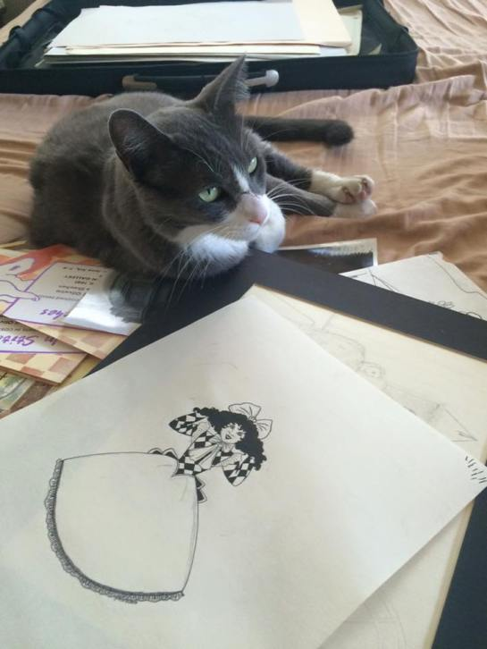 Oscar the cat enjoying my art